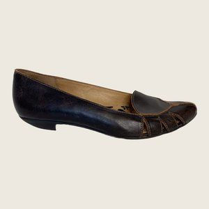 Fly London Pointed Toe Cut Out Leather Flats